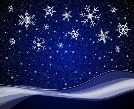 Night snowfall scene with large snow flakes photo