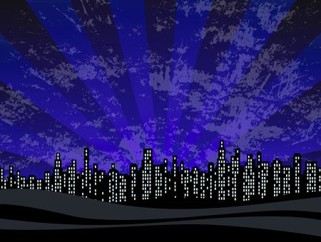 nightime: Illustration of nightime highrise city skyline