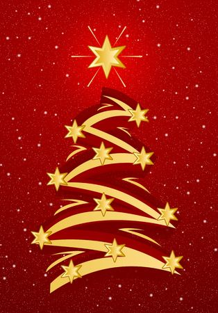 Stylized christmas tree illustation - Gold on red snowfall background Stock Photo - 613552
