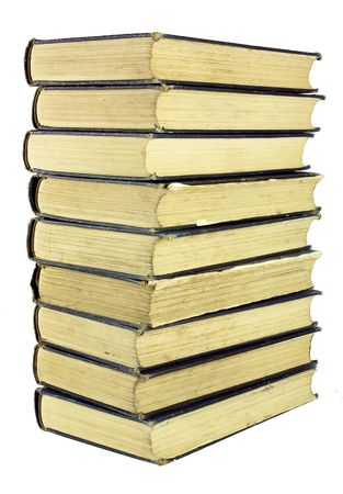 tatty: A stack of very old, well used worn books                                Stock Photo