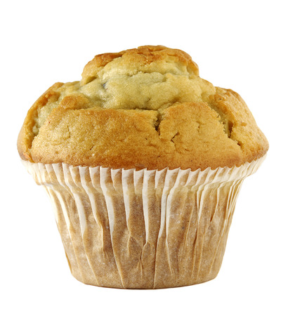blueberry muffin: a blueberry muffin isolated against white background