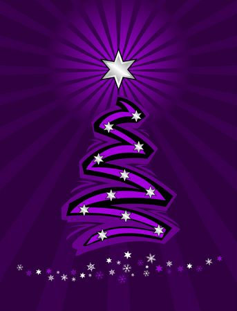christmas tree purple: vector illustration of a stylized christmas tree in purple and silver