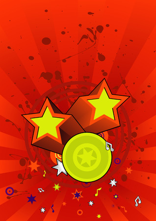 ideal: grunge star background with musical notes. ideal for flyers. Illustration