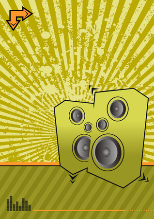 high powered: high powered speakers on green grunge background