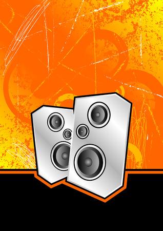 metallic silver speakers set against an orange scratched grunge background Vector