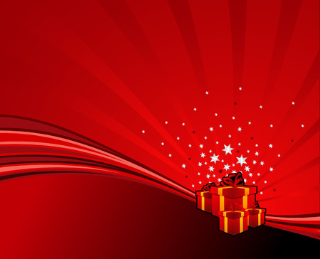 festive gifts on red abstract swoosh background. Vector illustration. Illustration