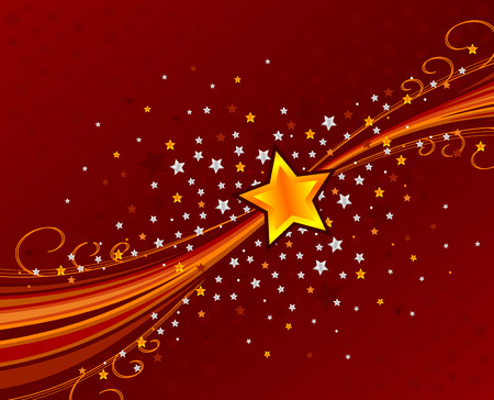 abstract swoosh background with stars and snowflakes