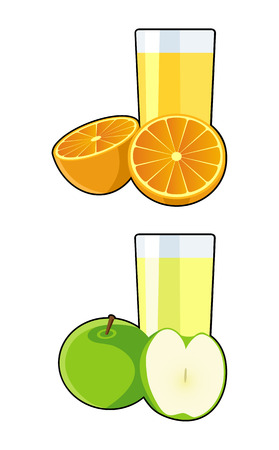 vector illustration of apple and orange juice