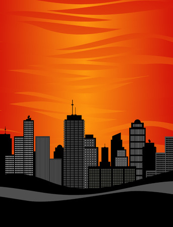 vector illustration of sun setting over highrise city skyline Illustration