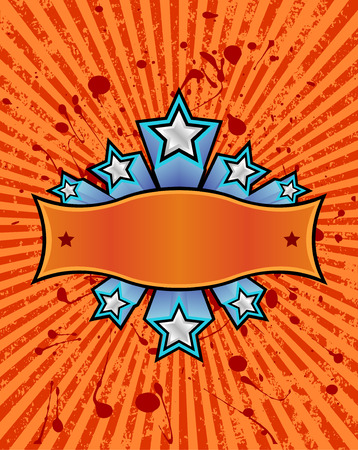 three dimensional: three dimensional silver stars set against a orange striped grunge background. just add your own text.