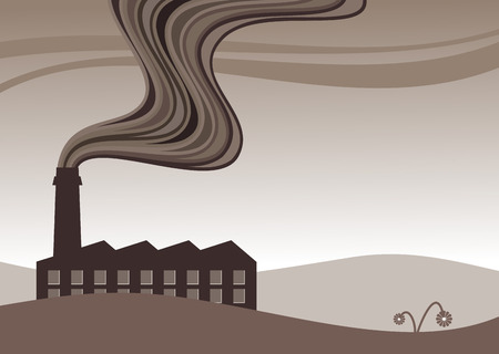 catalyst: vector illustration of a factory belching out pollution