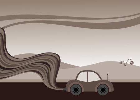 vector illustration of a car belching out pollution Illustration