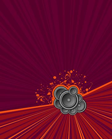 speakers set on purple grunge rush background Vector