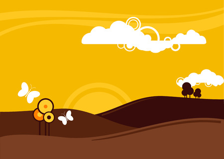 vector illustration of a summers evening in the countryside Illustration