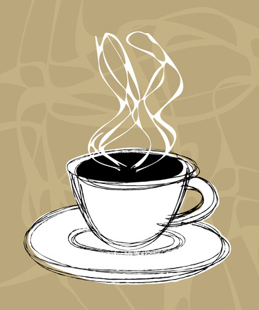 perk: vector illustration sketch of a cup of hot coffee and steam