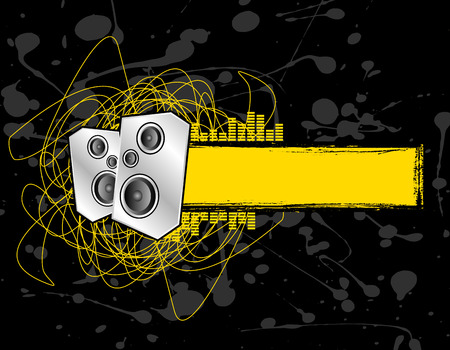 two club speakers set on a grunge text banner Vector