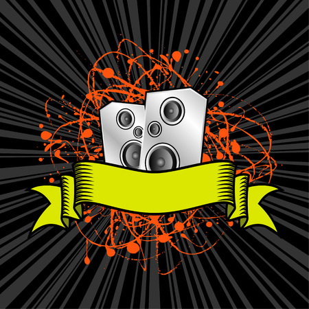 loud   speakers: vector illustration - loud speakers and text ribbon on grunge background Illustration