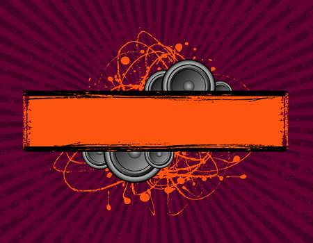 vector illustration of speakers set behind a grunge text banner