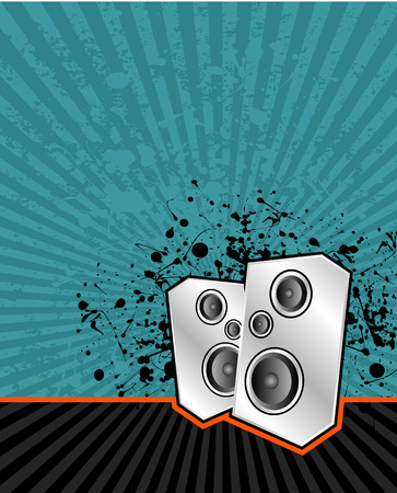 vector illustration of high powered speakers on an acid grunge background