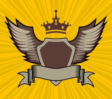 eagle badge: vector illustration of shield, crown and wings set on yellow patterned background Illustration