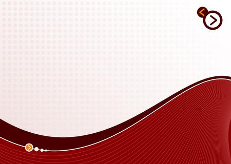 power point: red dot wave background ideal for presentations - landscape version