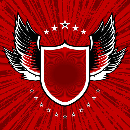 vector illustration of shield and wings set on red grunge background Vector
