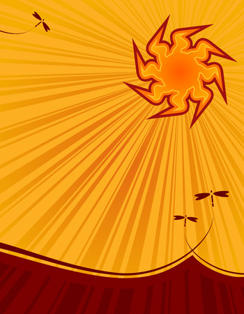 sizzling: illustration of the summer sun in a beautiful sky with plenty of copy space