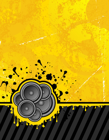 loud   speakers: vector illustration on yellow background ready for your own text Illustration