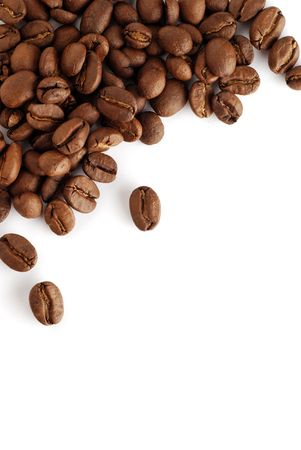 brew house: an arrangement of coffee beans on a white background Stock Photo