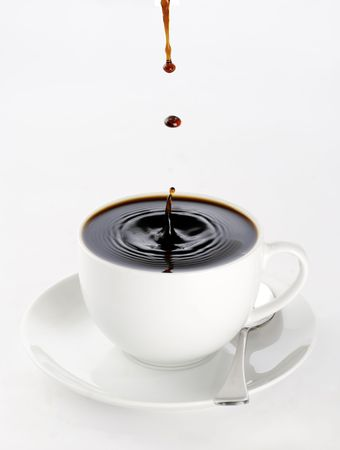brim: a cup of black coffee full to the brim with drops splashing on the surface threatening to spill over.