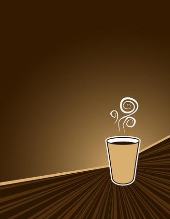 caf� � emporter: caf� noir pour aller sur fond de couleur caf� avec espace de copie
