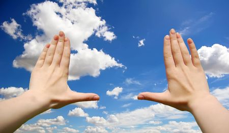 Frame made of hands over clouds Stock Photo - 5885533