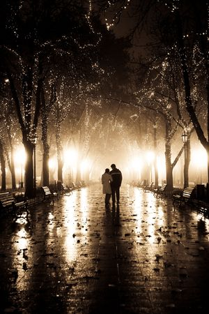 Couple walking at alley in night lights. Photo in vintage style. Stock Photo - 7500364