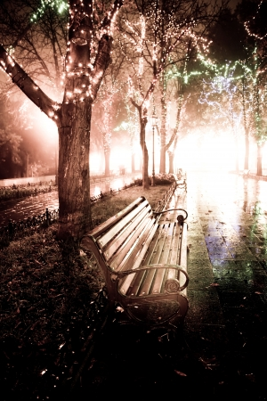 Bench in night alley with lights in Odessa, Ukraine. Photo in retro style. Stock Photo - 7500322