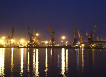 Cargo port in Odessa at night