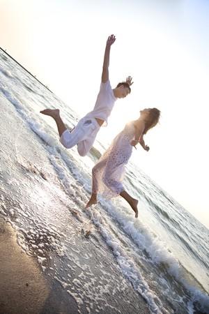 Two jumping at dawn photo