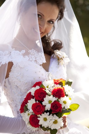 Bride holding beautiful red roses wedding flowers bouquet Stock Photo - 7690465
