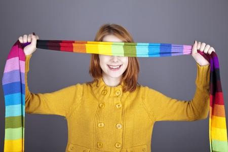 Girl with scarf near eyes. Studio shot. Stock Photo - 8083670