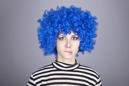 comically: Portrait of blue hair girl. Studio shot. Stock Photo