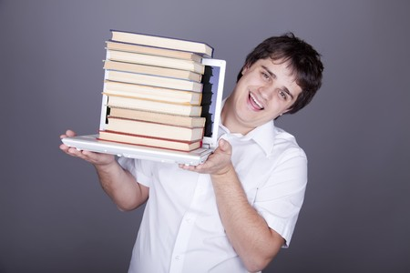 Funny men with books and white notebook. Studio sot. photo