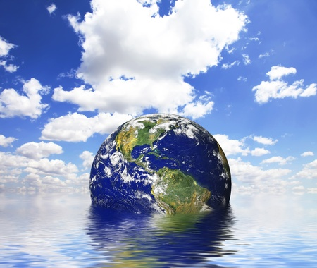 earth above the water - symbol of environmental protection photo