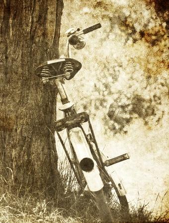 Bike near tree.