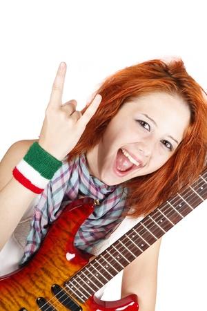 modern rock: Girl with modern rock guitar