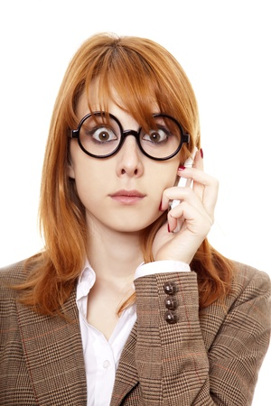 scared woman: Funny business women in glasses calling by phone. Stock Photo
