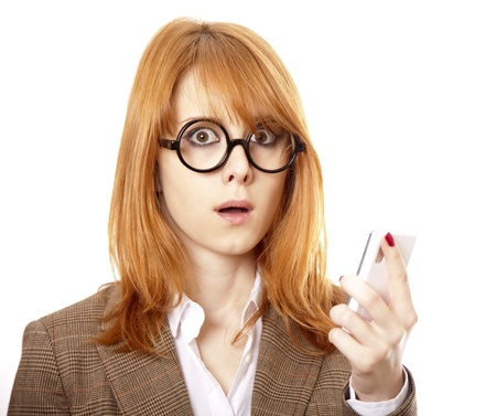 Funny business women in glasses calling by phone. photo