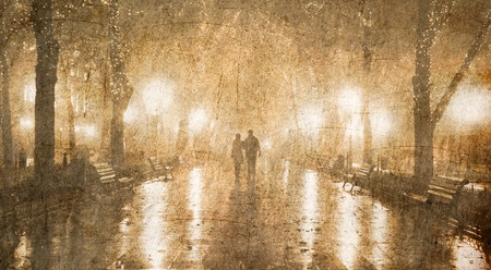 Couple walking at alley in night lights. Photo in old color image style.  photo