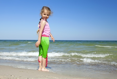 Happy child at the summer beach. Stock Photo - 9621532