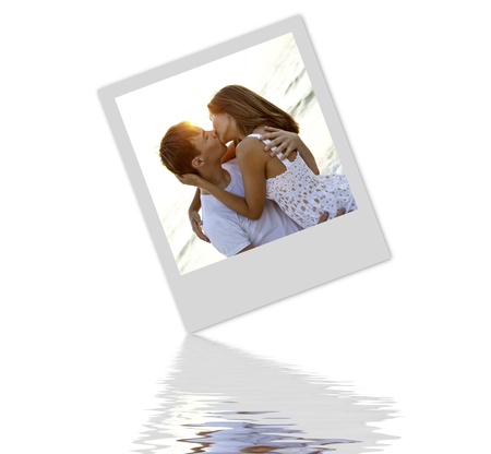 in loving memory: Photo with kissing couple. Stock Photo