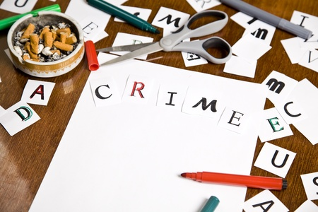Warning letter with Crime word on the paper. Stock Photo - 10663709