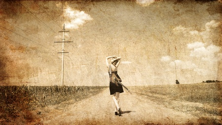 country girls: Rock girl with guitar at countryside. Photo in old image style.